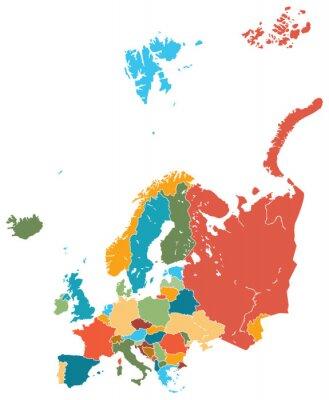 Naklejka Mapa Europy Grafika wektorowa kolorowe