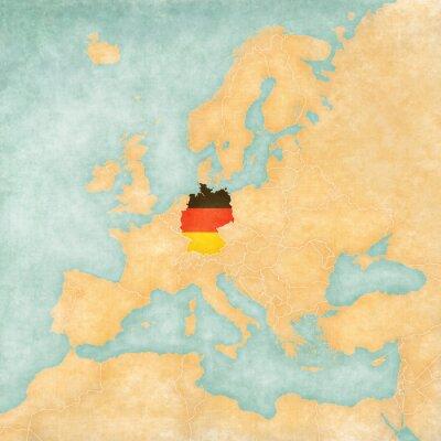 Naklejka Mapa Europy - Niemcy (Vintage Series)