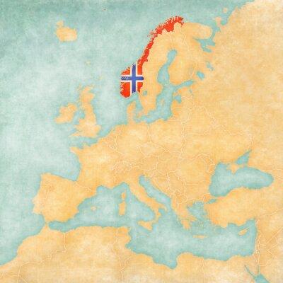 Naklejka Mapa Europy - Norwegia (Vintage Series)