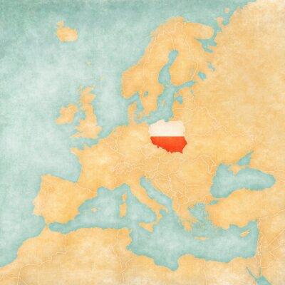 Naklejka Mapa Europy - Polska (Vintage Series)