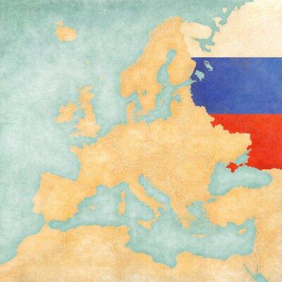 Naklejka Mapa Europy - Rosja (Vintage Series)