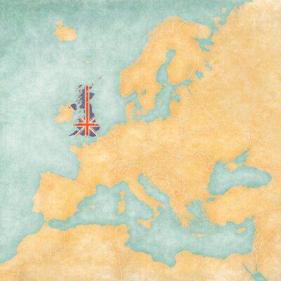 Naklejka Mapa Europy - Wielka Brytania (Vintage Series)