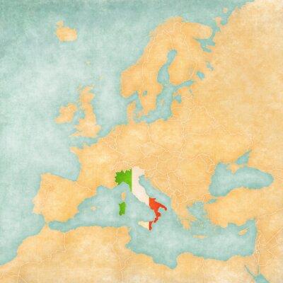 Naklejka Mapa Europy - Włochy (Vintage Series)