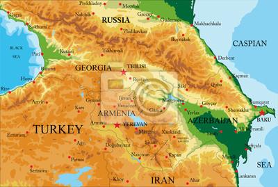 Naklejka Mapa Fizyczna Kaukazu Na Wymiar Tlo Podrozowac
