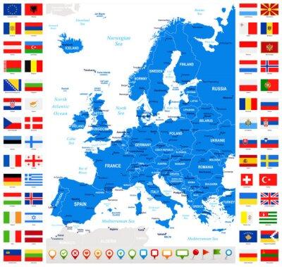 Naklejka Mapa i Flagi Europy - Pełna kolekcja wektor. Wektor Zestaw płaskich europejskich Flagi i mapy.