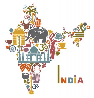 Naklejka Mapa Indii