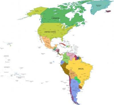 Naklejka Mapa Poludniowej I Ameryce Polnocnej Z Krajami Na Wymiar
