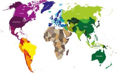 Naklejka Mapa świata kolorowe wg kontynentów