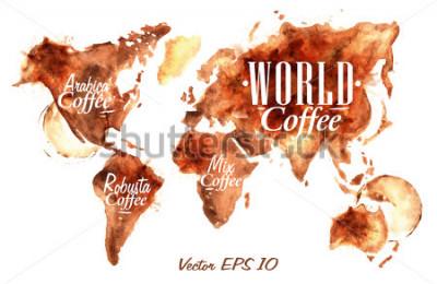 Naklejka Mapa świata narysowanej kawy z napisem arabica, robusta, wymieszać z odpryskami i plamami drukuje kubek.