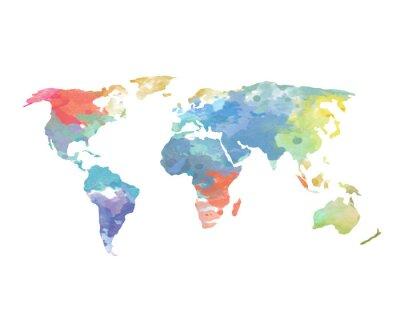 Naklejka Mapa świata Poster akwarela