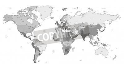 Naklejka Mapa świata szczegółowe wektora szare kolorów. Imiona, znaki miejskie i granice narodowe są w osobnych warstwach.