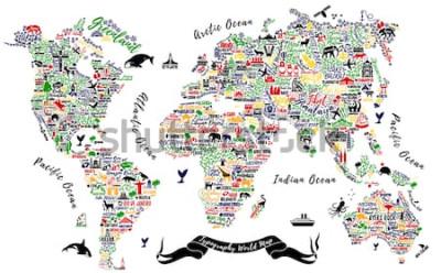 Naklejka Mapa świata typografii. Plakat podróżny z miastami i atrakcjami turystycznymi. Inspirująca ilustracja wektorowa.