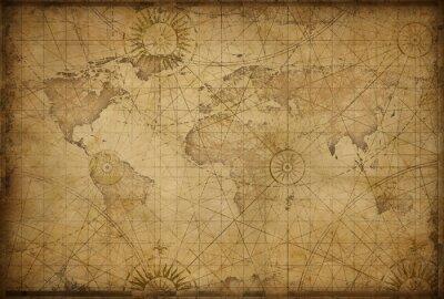 Naklejka mapa świata w stylu retro