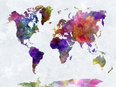 Naklejka Mapa świata w watercolorpurple i niebieskie