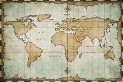 Naklejka Mapa świata w wieku starym