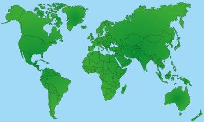 Naklejka Mapa świata w Zielonej