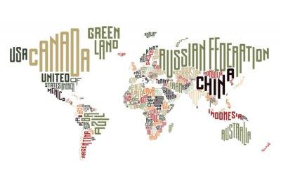 Naklejka Mapa świata wykonane z nazwy kraju i typograficznych
