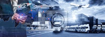 Naklejka Mapa świata z dystrybucją sieci logistycznych, koncepcja logistyki i transportu z przodu Statek towarowy Container Cargo dla koncepcji szybkiej lub błyskawicznej wysyłki, zamówienia online towarów na