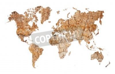 Naklejka Mapa świata z kontynentach z suchej gleby opuszczonym