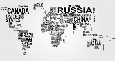 Naklejka mapa świata z nazwy kraju
