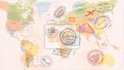Naklejka Mapa świata z wizami, znaczkami, pieczęciami. Koncepcja podróży