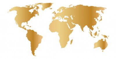 Naklejka Mapa świata złota