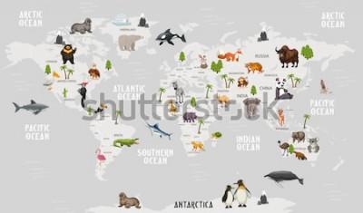 Naklejka Mapa świata zwierząt do projektowania tapet dla dzieci