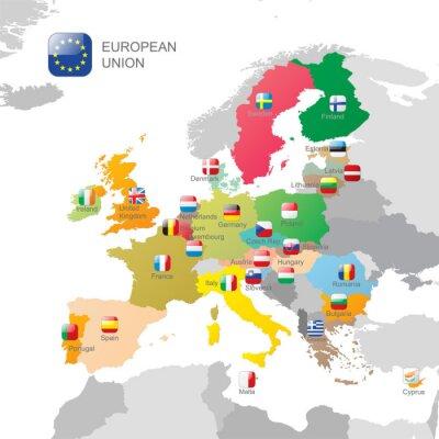 Naklejka Mapa Unii Europejskiej