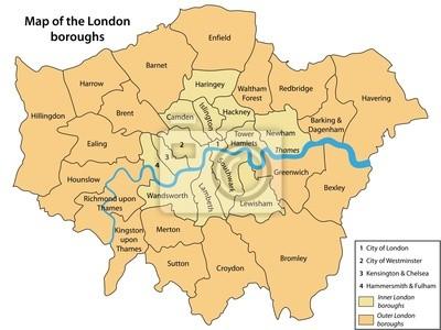 Naklejka Mapa Z Dzielnic Londynu Na Wymiar Podrozowac Miasto