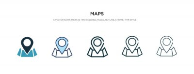 Naklejka maps icon in different style vector illustration. two colored and black maps vector icons designed in filled, outline, line and stroke style can be used for web, mobile, ui