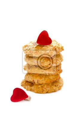 Naklejka marchew plików cookie na białym tle