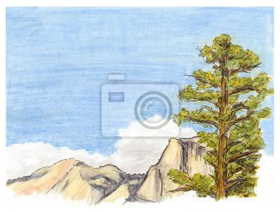 Marker malowane szkic krajobraz górski widok z drzewa sosnowego.