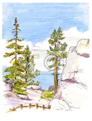 Marker malowanie szkic widok górski krajobraz.