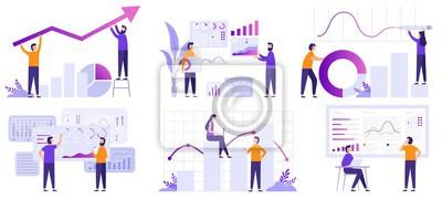 Naklejka Market analytics. Finance prediction, trends forecast and business strategy analytics flat vector illustration set