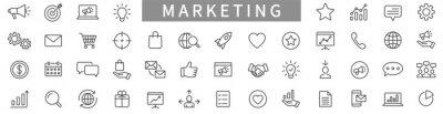 Naklejka Marketing line icons set. Advertising icon collection. Marketing symbol set. Vector illustration