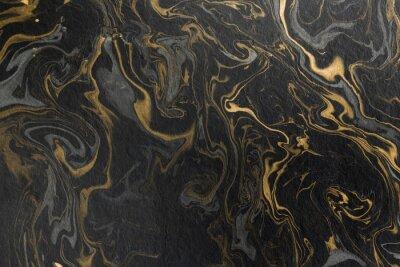 Naklejka marmurowy tusz tekstura papieru czarny szary złoty