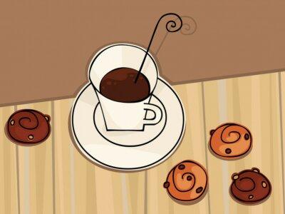 Naklejka Martwa natura z kawą i ciasteczkami