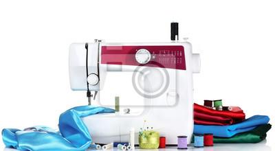 Naklejka maszyna do szycia i tkaniny na białym tle