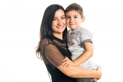 Naklejka Matka i syn na białym tle studio