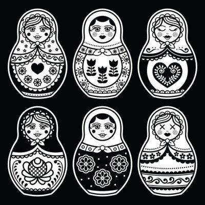 Naklejka Matryoshka, rosyjski lalek białe zestaw ikon na czarnym