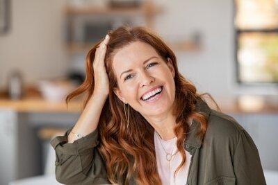 Naklejka Mature beautiful woman laughing