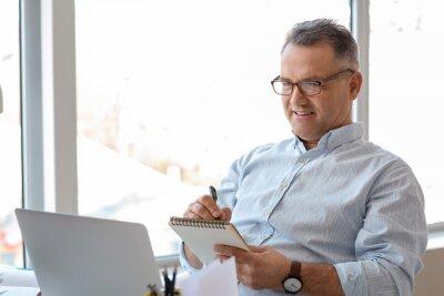 Naklejka Mature man using laptop at home