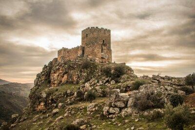 Naklejka Medieval castle on a cliff on a cloudy day, Algoso, Vimioso, Miranda do Douro, Bragança, Tras-os-Montes, Portugal