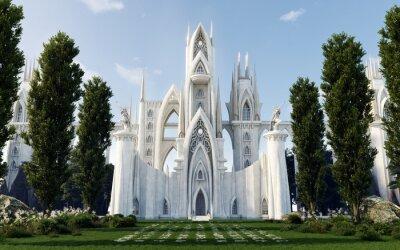 Naklejka Medieval Fantasy Castle/Cathedral hidden in forest, Front View, Architecture Illustration, 3D Rendering