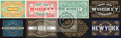 Naklejka Mega set of 8 vintage labels. Vector layered