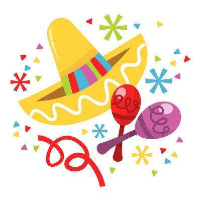 Naklejka Meksykańskie Sombrero marakasy