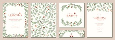 Naklejka Merry and Bright Corporate Holiday cards. Universal abstract creative artistic templates with birds, modern background, frame and copy space.