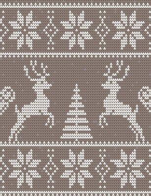 Naklejka Merry Christmas Skandynawski styl bez szwu dzianiny wzór z ozdoba zima i serca