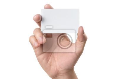 Naklejka Męska ręka trzyma pustą kartę lub bilet / ulotki, odizolowywających na białym tle