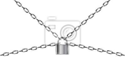 Naklejka Metal chain and padlock, isolated on white